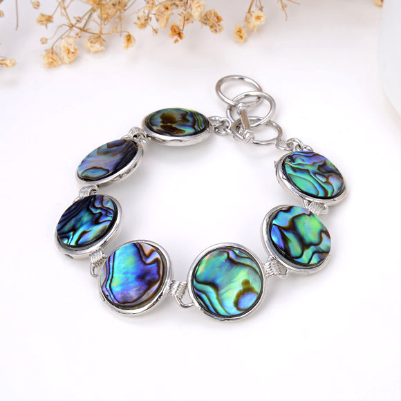 Abalone Paua Round Medallions Bracelet With Toggle Clasp, Brt2001