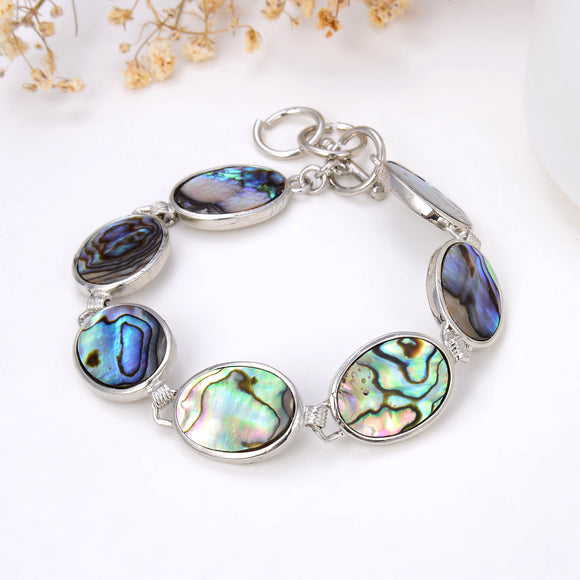 Abalone Paua Oval Medallions Bracelet With Toggle Clasp, Brt2003