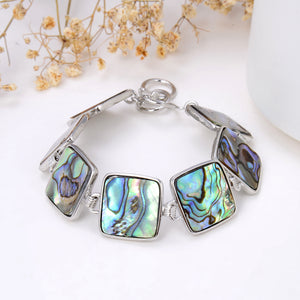 Abalone Paua Square Medallions Bracelet With Toggle Clasp, Brt2005