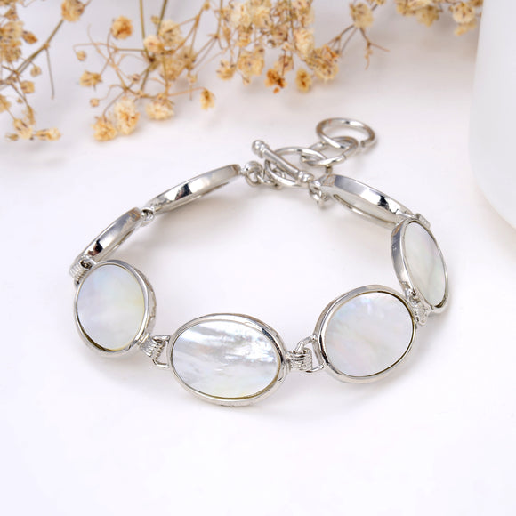 Mother Of Pearl Oval Medallions Bracelet With Toggle Clasp, Brt2008