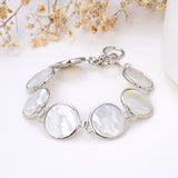 Mother Of Pearl Round Medallions Bracelet With Toggle Clasp, Brt2009