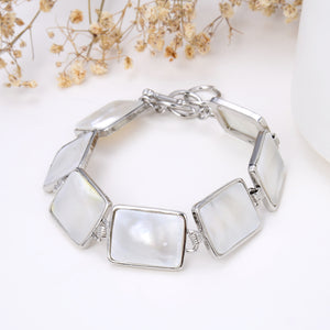 Mother Of Pearl Rectangular Medallions Bracelet With Toggle Clasp, Brt2002