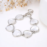 Mother Of Pearl Hearts Medallions Bracelet, Toggle Clasp, BRT2010MP