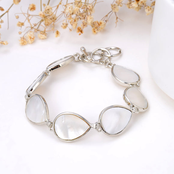 Mother Of Pearl Teardrop Medallions Bracelet, Toggle Clasp, BRT2010MP