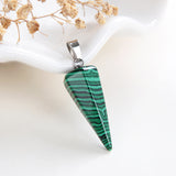 Gemstone Thin&Long Angular Cone Pendants Or Pendulums, Big Size, PND4119XX