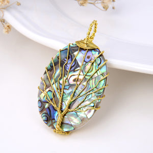Oval Abalone Paua Pendant with Gold Plated Wire Tree, Medium Size, Pnd4004