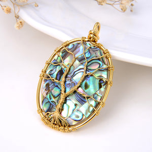 Oval Abalone Paua Pendant with Gold Plated Wire Tree, Medium Size, Pnd4005