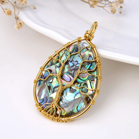 Teardrop Abalone Paua Pendant with Gold Plated Wire Tree, Medium Size, Pnd4007