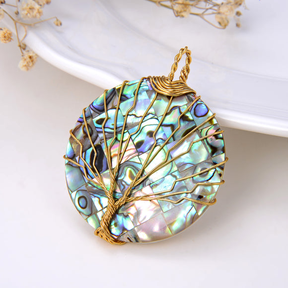 Round Mosaic Abalone Paua Pendant with Gold Plated Wire Tree, Medium Size, Pnd4008