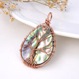 Teardrop Abalone Pendant with Copper Wire-wrapped Tree, Medium Size, Pnd4009