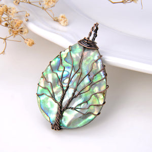 Oval Abalone Paua Pendant with Copper Wire Tree, Medium Size, Pnd4014