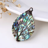 Teardrop Mosaic Abalone Paua Pendant with Copper Wire Tree, Medium Size, Pnd4016