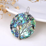 Round Mosaic Abalone Paua Pendant With Stainless Steel Wire Tree, Medium Size, Pnd4019