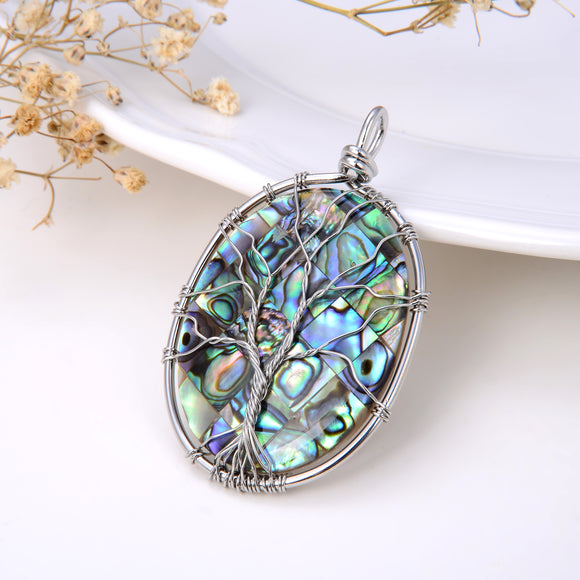 Oval Mosaic Abalone Paua Pendant With Stainless Steel Wire Tree, Pnd4020