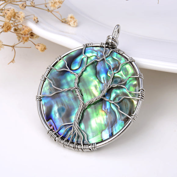 Round Abalone Paua Pendant With Stainless Steel Wire Tree, Medium Size, Pnd4022