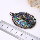 Abalone Paua Oval Pendant With Copper Wire Tree, Medium Size, PND4013AB
