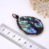 Teardrop Abalone Paua Pendant with Copper Wire Tree, Medium Size, Pnd4015