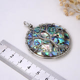 Round Mosaic Abalone Paua Pendant With Stainless Steel Wire Tree, Medium Size, Pnd4017