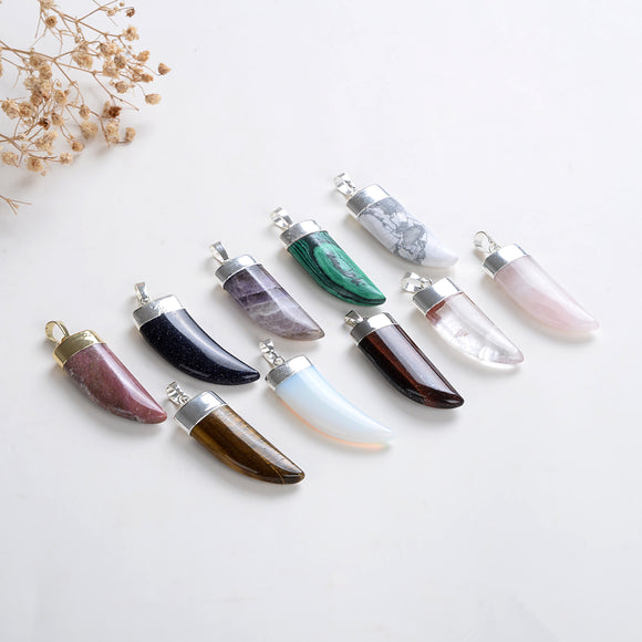 Gemstone Horn Shape Pendants, Silver Electroplated Top, PND4121XX