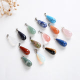 Gemstone Teardrop Round Pendants, Small Size, PND4137XX