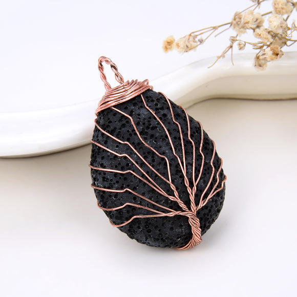 Teardrop Lava Pendant With Copper Plated (Rose Gold) Wire Tree, Pnd4026