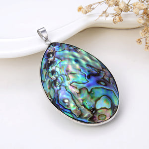 Teardrop Abalone Paua Pendant With Stainless Steel Casing&Bail, Large Size, Pnd4034