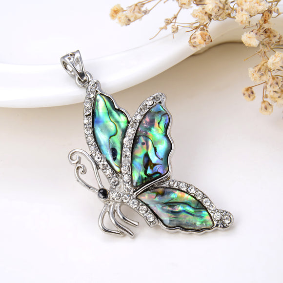 Abalone Paua Butterfly Pendant Silver Plated With CZ Design, Pnd4036