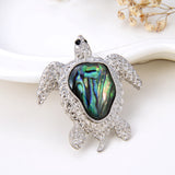 Abalone Paua Sea Turtle Pendant Silver Plated Copper Design, Pnd4038
