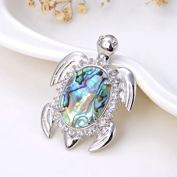 Sea Turtle Abalone Paua Pendant Silver Plated Copper Design, Pnd4042