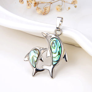 Abalone Paua Dolphins Pendant, Silver Plated Design, Small Size, PND4049AB