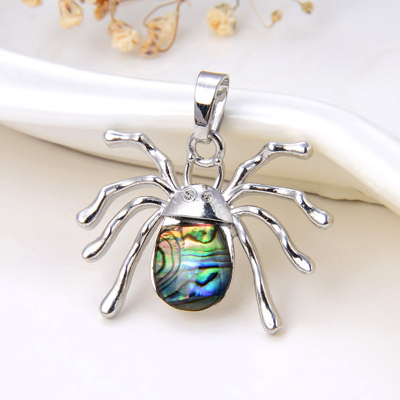 Spider Abalone Paua Pendant Silver Plated Copper Design, Small Size, Pnd4052