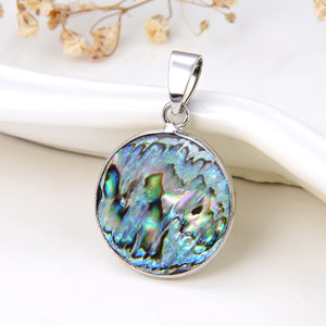 Abalone Paua Round Pendant Silver Plated Casing&Bail, Medium Size, PND6024AB