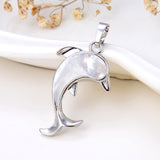 Mother Of Pearl Dolphin Pendant Silver Plated Casing&Bail, Small Size, PND6022MP
