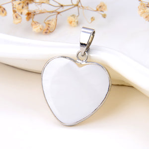 Mother Of Pearl Heart Pendant Silver Plated Casing&Bail, Small Size, Pnd6023