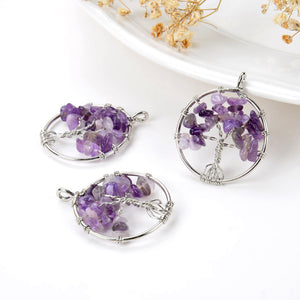Amethyst Chips Round Silver Plated Wire Tree Pendant, Small Size, PND6071AT