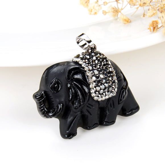 Black Obsidian Elephant Pendant With Marcasite Saddle, Pnd4068