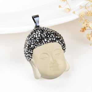 Citrine Pressed Quartz Buddha Head Pendant Marcasite Design, Pnd6033