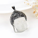 White Pressed Quartz Buddha Head Pendant Marcasite Design, Pnd6036