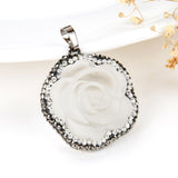 Pressed Quartz Flower Pendant With Marcasite CZ Design, Pnd6030