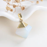 Gemstone Diamond Shape Pendants Or Pendulums, Gold Electroplated Top, PND4126XX