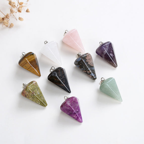 Gemstone Thick&Short Angular Cone Pendants Or Pendulums, Small Size, PND4128XX