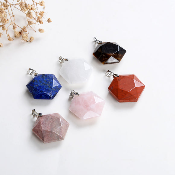 Gemstone Faceted Star-Of-David Hexagon Shape Pendants, PND4132XX