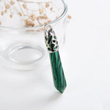 Gemstone Long Crystal Pendants Silver Plated Top Design, PND4136XX