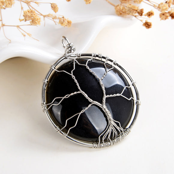 Black Onyx Round Pendant Rimmed Silver Plated Copper Wire Tree, Medium Size, PND6118BA