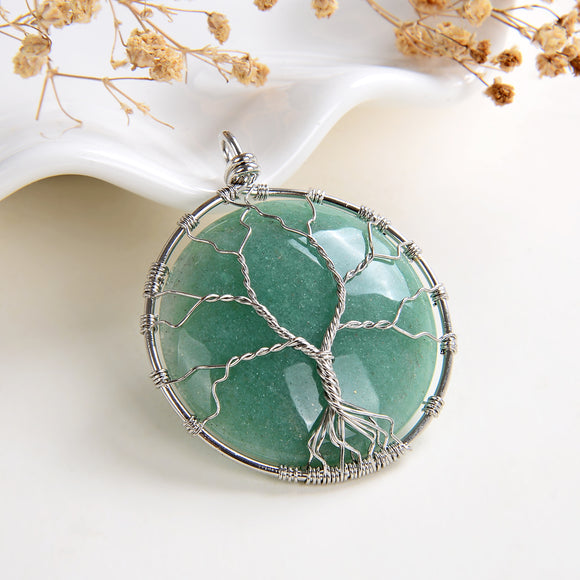 Green Aventurine Round Pendant Rimmed Silver Plated Wire Tree, Medium Size, PND6117GV