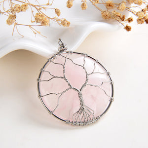 Rose Quartz Round Pendant Rimmed Silver Plated Wire Tree, Medium Size, PND6119RQ
