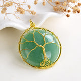 Green Aventurine Round Pendant Rimmed Gold Plated Wire Tree, Medium Size, PND6113GV