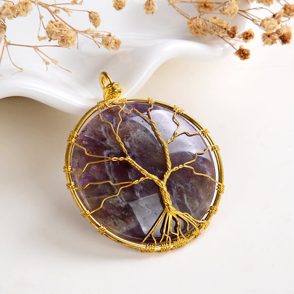 Amethyst Round Pendant Rimmed Gold Plated Wire Tree, Medium Size, PND6114AT