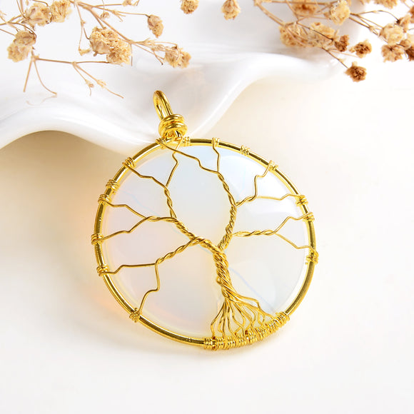 Opalite Round Pendant Rimmed Gold Plated Wire Tree, Medium Size, PND6111OT