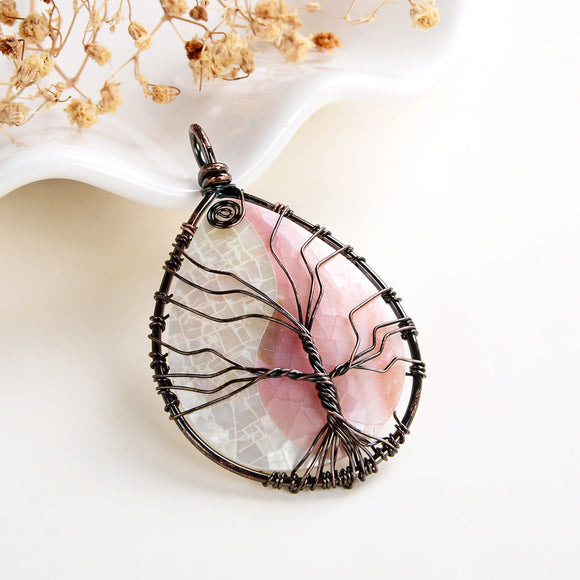 Pink Mother Of Pearl Teardrop Pendant Rimmed Copper Wire Tree, Medium Size, PND6099PM